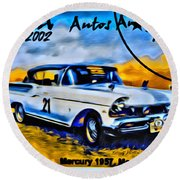 Cuba Antique Auto 1957 Mercury Monterrey Round Beach Towel