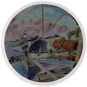 Cuban Refugee Raft  3 Round Beach Towel