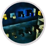 Cubes Reflection Round Beach Towel