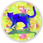 Cubist Cat Round Beach Towel