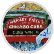 Cubs Win Round Beach Towel
