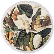 Cuckoo On Magnolia Grandiflora Round Beach Towel