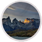 Cuernos Sunset Begins #4 - Patagonia Round Beach Towel