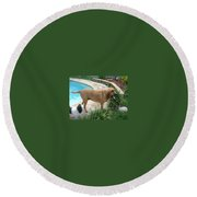 Cujo And Lucky By The Pool Round Beach Towel