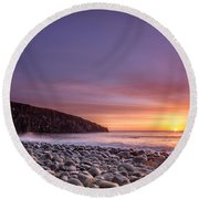 Cullernose Point At Sunrise Round Beach Towel