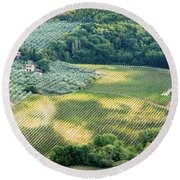 Cultivated Vineyards Tuscany  Italy Round Beach Towel