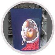 cultural Masaai Woman Round Beach Towel