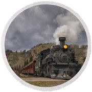 Cumbres And Toltec Railroad Crossing Nm Dsc04057 Round Beach Towel