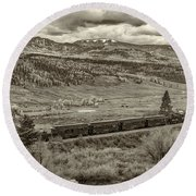 Cumbres Toltec Railroad Nm Sepia Dsc04065 Round Beach Towel
