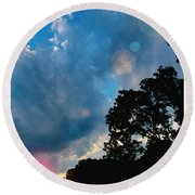 Cumulonimbus Clouds At Sunset Round Beach Towel