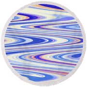 Cumulus Clouds And Blue Sky Abstract Round Beach Towel