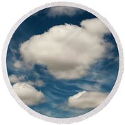 Cumulus Clouds With Nature Patterns Round Beach Towel