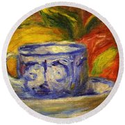 Cup And Fruit Round Beach Towel