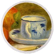 Cup And Oranges Round Beach Towel