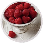 Cup Full Of Raspberries  Round Beach Towel