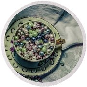 Cup Of Beads Round Beach Towel