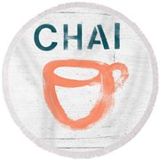 Cup Of Chai- Art By Linda Woods Round Beach Towel