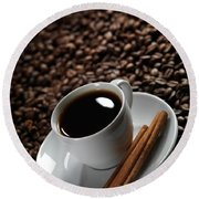 Cup Of Coffe On Coffee Beans Round Beach Towel