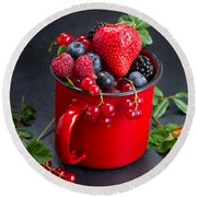 Cup Of Fresh Berries Round Beach Towel