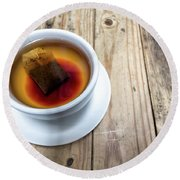 Cup Of Hot Tea On Wood Table Round Beach Towel