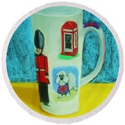 Cup Of London Java Round Beach Towel