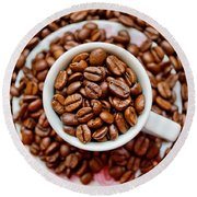 Cup Of Raw Coffee Round Beach Towel