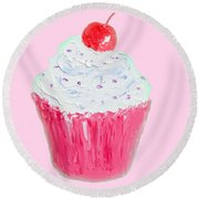 Cupcake Painting On Pink Background Round Beach Towel