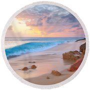 Cupecoy Beach Sunset Saint Maarten Round Beach Towel