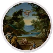 Cupid And Pan Round Beach Towel