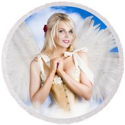 Cupid Angel Of Love Flying High With Fairy Wings Round Beach Towel