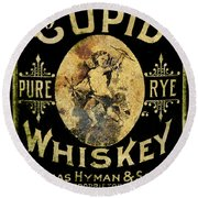 Cupid Whiskey Round Beach Towel