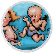 Cupid's Chase Round Beach Towel