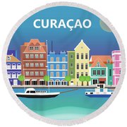 Curacao Horizontal Scene Round Beach Towel