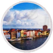 Curacao Oil Round Beach Towel