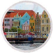 Curacao Willemstad Panorama Round Beach Towel