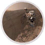 Curiosity Rover Self-portrait Round Beach Towel