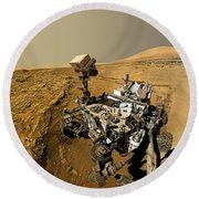 Curiosity Self-portrait At Windjana Drilling Site Round Beach Towel