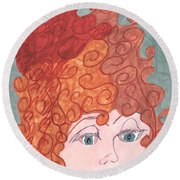 Curly Red Hair Round Beach Towel