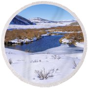 Currant Creek On Ice Round Beach Towel