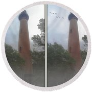 Currituck Beach Light Station - 3d Stereo Crossview Round Beach Towel