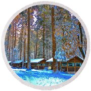 Curry Cabins Christmas Day Round Beach Towel