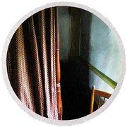 Curtains Closed Round Beach Towel