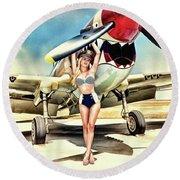 Curtis P-40 Warhawk Round Beach Towel