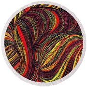 Curved Lines 3 Round Beach Towel