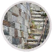 Curved Stone Staircase 235 Round Beach Towel