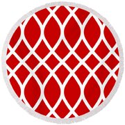 Curved Trellis With Border In Red Round Beach Towel