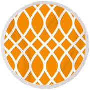 Curved Trellis With Border In Tangerine Round Beach Towel