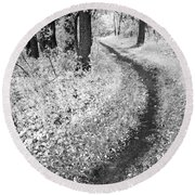 Curving Path Through Woods Round Beach Towel