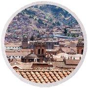 Cusco Cityscape Round Beach Towel