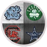 Custom 4 Team License Plates Sport Art No 1 Round Beach Towel